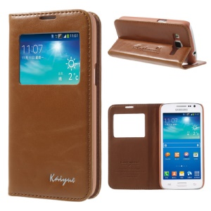 Brown KAIYUE Caller ID View Window Flip Leather Cover Stand for Samsung Galaxy Win Pro G3812