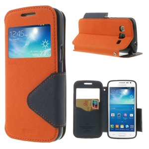 Roar Korea Fancy Diary for Samsung Galaxy Express 2 II G3815 Window View Leather Case - Dark Blue / Orange