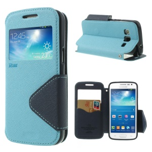 Roar Korea Fancy Diary for Samsung Galaxy Express 2 II G3815 Window View Leather Cover - Dark Blue / Light Blue