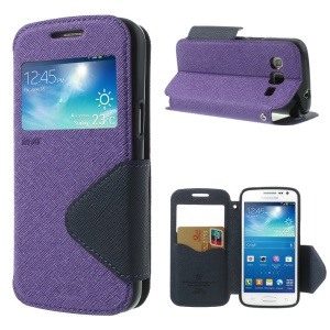 Roar Korea Fancy Diary for Samsung Galaxy Express 2 II G3815 Window View Leather Cover - Dark Blue / Purple