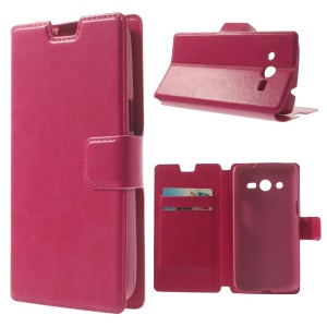 Rose Crazy Horse Texture Leather Case w/ Stand for Samsung Galaxy Core LTE G386F