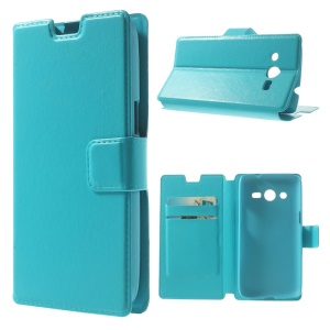 Blue Crazy Horse Texture Leather Case Shell w/ Stand for Samsung Galaxy Core LTE G386F