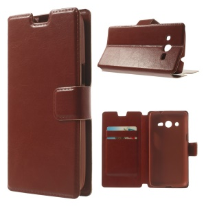 Brown Crazy Horse Texture Leather Case Shell w/ Stand for Samsung Galaxy Core LTE G386F