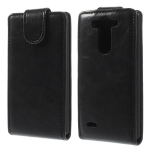 Black Crazy Horse Vertical Leather Flip Case for LG G3 S D725 D722