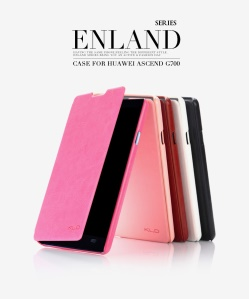 KLD England Series Leather Case Cover w/ Stand for Huawei Ascend G700