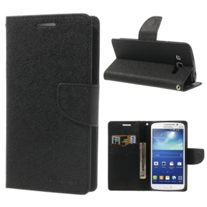 Mercury GOOSPERY Fancy Diary Leather Case Stand for Samsung Galaxy Grand 2 Duos G7102 G7100 G710S G7106 - Black