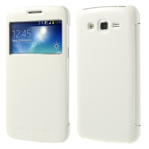 S View Folio Wake Sleep Leather Smart Case for Samsung Galaxy Grand 2 Duos G7102 G7100 - White