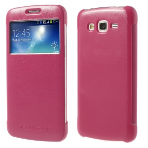 S View Wake Sleep Folio Smart Leather Cover for Samsung Galaxy Grand 2 Duos G7105 G710S - Rose