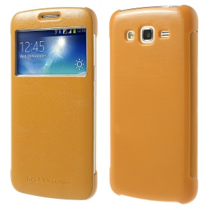 S View Smart Wake Sleep Folio Leather Shell for Samsung Galaxy Grand 2 Duos G7102 G7106 - Orange