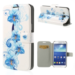 Blooming Blue Flowers for Samsung Galaxy Grand 2 Duos G7102 Magnetic Leather Stand Cover
