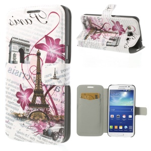 Eiffel Tower & Triumphal Arch for Samsung Galaxy Grand 2 Duos G7102 Leather Card Slot Case