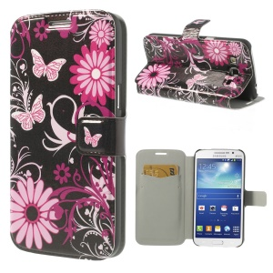 Butterflies & Flowers for Samsung Galaxy Grand 2 Duos G7102 G7100 Leather Case w/ Card Slots