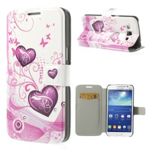 Hearts & Butterflies for Samsung Galaxy Grand 2 Duos G7102 Magnetic Flip PU Leather Cover