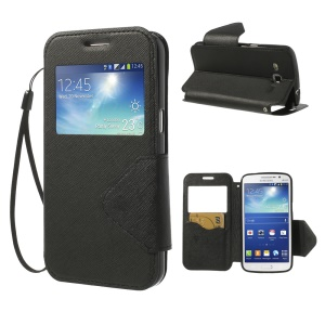 Magnetic View Window Cross Leather Case Stand for Samsung Galaxy Grand 2 Duos G7100 G7102 - Black