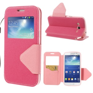 Magnetic View Window Cross Leather Case Stand for Samsung Galaxy Grand 2 Duos G7100 G7102 - Rose