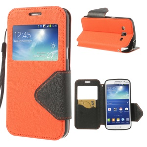 Magnetic View Window Cross Leather Case Stand for Samsung Galaxy Grand 2 Duos G7100 G7102 - Orange