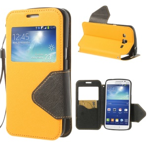 For Samsung Galaxy Grand 2 Duos G7100 View Window Cross Leather Cover w/ Card Slot & Stand - Yellow