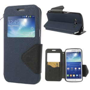 For Samsung Galaxy Grand 2 Duos G7105 View Window Cross Leather Cover w/ Card Slot & Stand - Blue