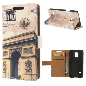 Retro Postcard Style Triumphal Arch Leather Wallet Stand Case for Samsung Galaxy S5 mini SM-G800