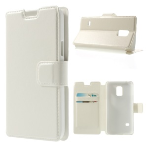 White Crazy Horse Leather Card Holder Stand Cover for Samsung Galaxy S5 Mini SM-G800