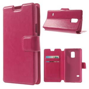 Rose Crazy Horse Leather Card Holder Stand Shell for Samsung Galaxy S5 Mini SM-G800