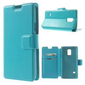 Blue Crazy Horse Leather Card Holder Stand Shell Cover for Samsung Galaxy S5 Mini SM-G800