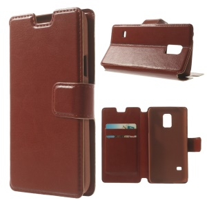 Brown Crazy Horse Leather Card Holder Case for Samsung Galaxy S5 Mini SM-G800 w/ Stand