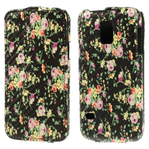 Flowers & Leaves Carbon Fiber Vertical Leather Cover for Samsung Galaxy S5 Mini SM-G800