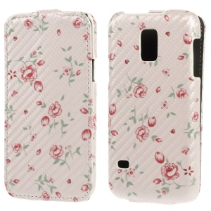 Pretty Floret Carbon Fiber Vertical Leather Cover for Samsung Galaxy S5 Mini SM-G800