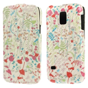 Ferns & Vines Carbon Fiber Vertical Leather Cover for Samsung Galaxy S5 Mini SM-G800