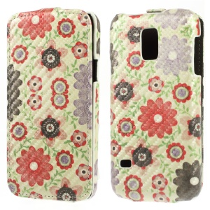 Flower Petals & Green Leaves for Samsung Galaxy S5 Mini G800 Carbon Fiber Vertical Leather Case