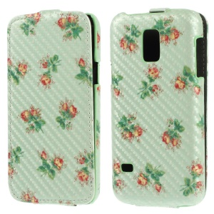 Charming Flowers for Samsung Galaxy S5 Mini G800 Carbon Fiber Vertical Leather Case