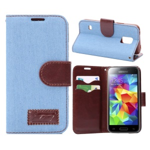 Jeans Cloth Skin Leather Case for Samsung Galaxy S5 Mini SM-G800 w/ Card Holder / Stand - Light Blue