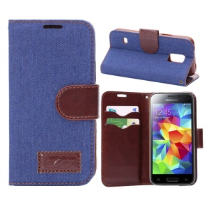 Jeans Cloth Skin Leather Case for Samsung Galaxy S5 Mini SM-G800 with Card Holder / Stand - Dark Blue