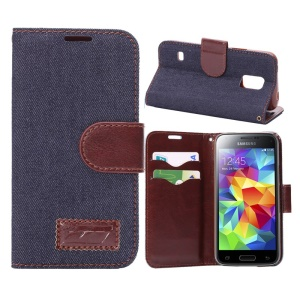 Jeans Cloth Skin Leather Stand Cover for Samsung Galaxy S5 Mini SM-G800 with Card Holder - Blue Black