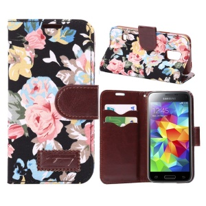 Floral Cloth Skin Card Holder Leather Case for Samsung Galaxy S5 Mini SM-G800 - Black