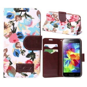 Flower Cloth Skin Card Holder Leather Case for Samsung Galaxy S5 Mini SM-G800 w/ Stand - White