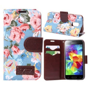 Flower Cloth Skin Card Holder Leather Cover for Samsung Galaxy S5 Mini SM-G800 w/ Stand - Blue