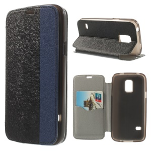 Textured PU Leather Stand Case for Samsung Galaxy S5 Mini G800 with Card Slot - Black