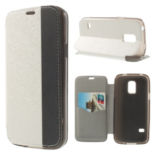 Textured PU Leather Stand Case for Samsung Galaxy S5 Mini G800 with Card Slot - White