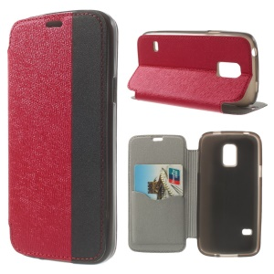 Textured PU Leather Stand Case for Samsung Galaxy S5 Mini G800 with Card Slot - Red