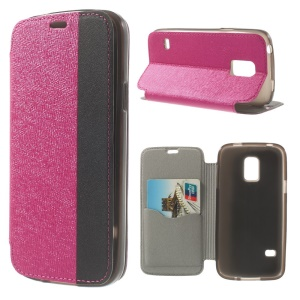 Textured PU Leather Stand Cover for Samsung Galaxy S5 Mini G800 with Card Slot - Rose
