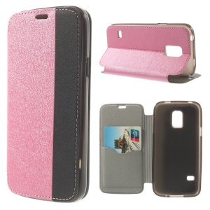 Textured PU Leather Stand Cover for Samsung Galaxy S5 Mini G800 with Card Slot - Pink