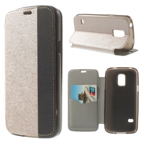 Textured PU Leather Stand Cover for Samsung Galaxy S5 Mini G800 with Card Slot - Champagne