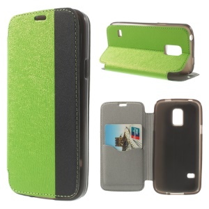 Textured PU Leather Stand Card Slot Cover for Samsung Galaxy S5 Mini G800 - Green