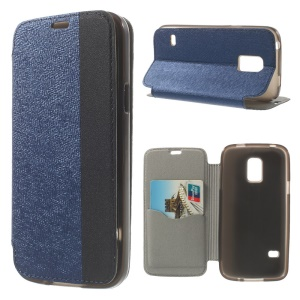 Textured PU Leather Stand Card Slot Shell for Samsung Galaxy S5 Mini G800 - Blue