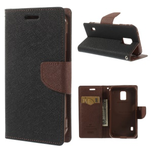 Mercury Fancy Diary Wallet Leather Stand Cover for Samsung Galaxy S5 Active (AT&T) G870A - Black / Brown