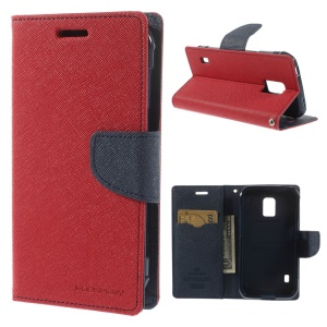 Mercury Fancy Diary Leather Magnetic Case w/ Stand for Samsung Galaxy S5 Active (AT&T) G870A - Red