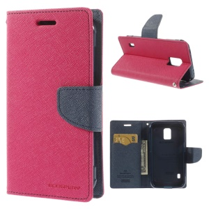 Mercury Fancy Diary Leather Magnetic Cover w/ Stand for Samsung Galaxy S5 Active (AT&T) G870A - Rose