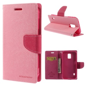 Mercury Fancy Diary Leather Stand Case for Samsung Galaxy S5 Active (AT&T) G870A - Pink